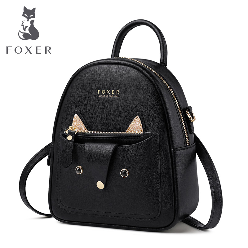 FOXER Woman's Lovely Backpack Female Mini Knapsack Cow Leather Rucksack For Teenager Girls Leather School Bag Cute Bags 9113036F