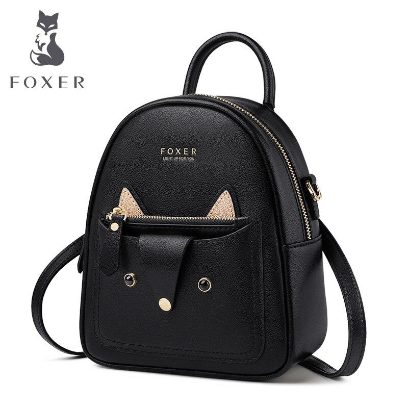 Foxer adorável da mulher mochila feminina mini mochila de couro de vaca para adolescente meninas saco de escola de couro bonito sacos 9113036f