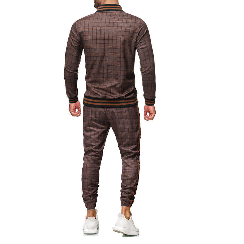 Männer sets sport anzug männer sportswear casual zwei stück sets plaid trainingsanzug männer frühling herbst männer kleidung der männer trainingsanzug