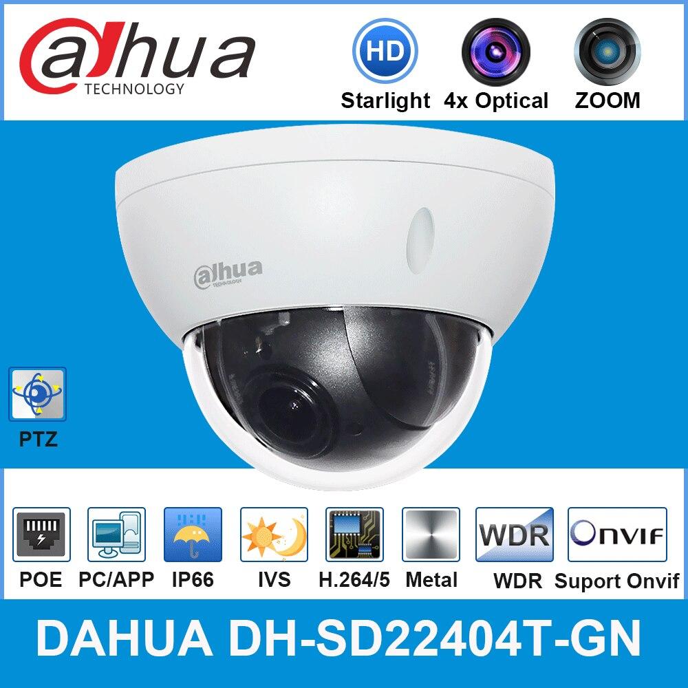 Dahua Original SD22404T-GN 4MP PTZ IP Camera 4x Optical Zoom Mini Ptz With Poe H.265 IP66 IK10 IVS DH-SD22404T-GN Security