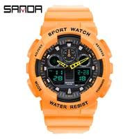 Top Marke SANDA Herren Frauen Uhr Luxus Dual Zifferblatt Elektronische Armbanduhr Stoßfest Wasserdichte Uhr Led Licht Uhren Neue 2021
