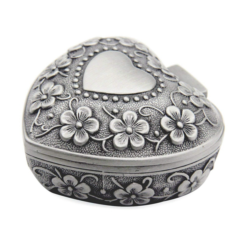 Classic Vintage Antique Heart Shape Jewelry Box Ring Small Trinket Storage Organizer Chest Christmas Gift,Silver