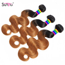 Sunya Body Wave Bundles 1 3 4 Bundles Remy Brazilian Human Hair Budles 1b/30 Ombre Color Human Hair Bundles For Black Women(China)