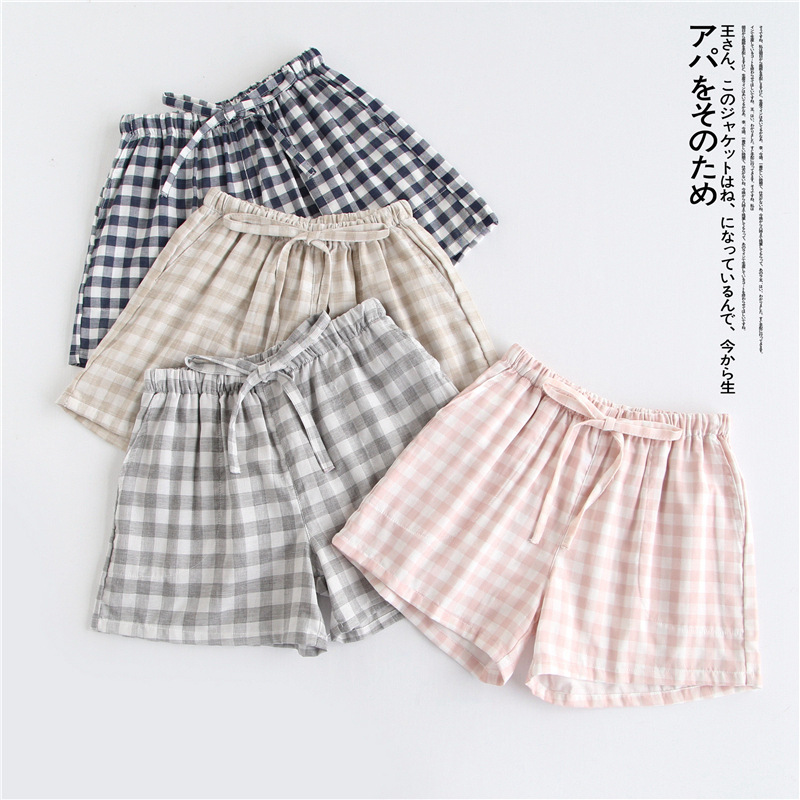 Couple pajamas summer cotton gauze shorts Japanese style simple elastic waist casual large size lattice men and women home pants