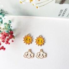 10pcs Smiley Sun Cloud Enamel Charms Floating Metal Pendants Fit For Making Bracelet Earring Jewelry Women Accessories FX155
