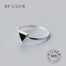 Real 925 Sterling Silver Geometric Black Enamel Triangle OL Adjustable Ring Minimalist Fine Jewelry For Women Party Gift(China)