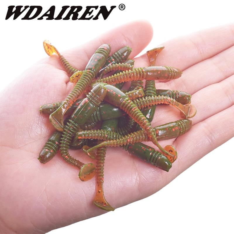 16pcs/lot Fishing Jig Worm Soft Bait 5cm 1g Wobbler Fishing Lure T Tail Swimbait Salt Smell Silicone Bait For Carp Bass Tackle