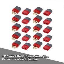 10 пар оригинальный разъем AMASS Deans T штекер гнездовой комплект для радиоуправляемого автомобиля FPV гоночного дрона квадрокоптера многовинтов...