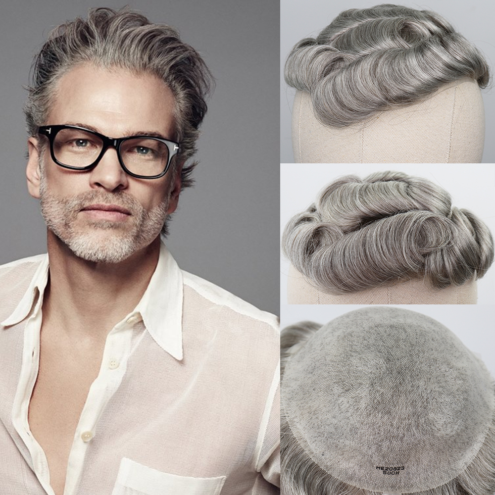 YY Wigs Thin PU Human Hair Toupee For Men #5 80% Grey Hair Men Toupee Hair Replacement System 6 Inch Curly Hairpieces 8x10