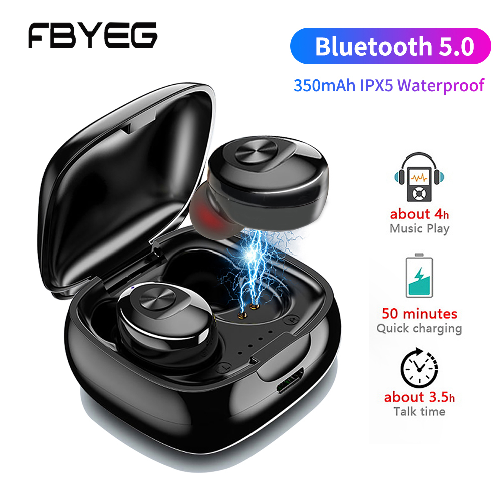 TWS Bluetooth 5.0 Earphone Wireless Headphone  Stereo Bass Earbuds Hands-free HIFI Sports Headphones With Microphone For Phone