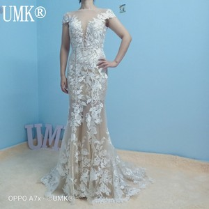 Image 5 - UMK High end Lace Mermaid Wedding Dress 2020 Sexy Backless Short Sleeve Detachable Train Wedding Gowns