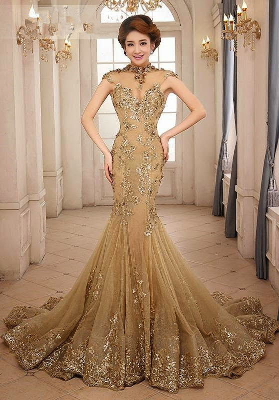 Mermaid Evening Gown 2018 Elegant High Neck Luxury Gold Appliques Sequined Open Back Prom Vestidos Mother Of The Bride Dresses