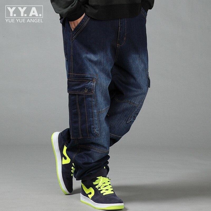 New Large Size 44 46 Blue Baggy Men Jeans Slim Fit Straight Loose Demin Pants Big Multi Pockets Casual Trousers Pantalon Homme