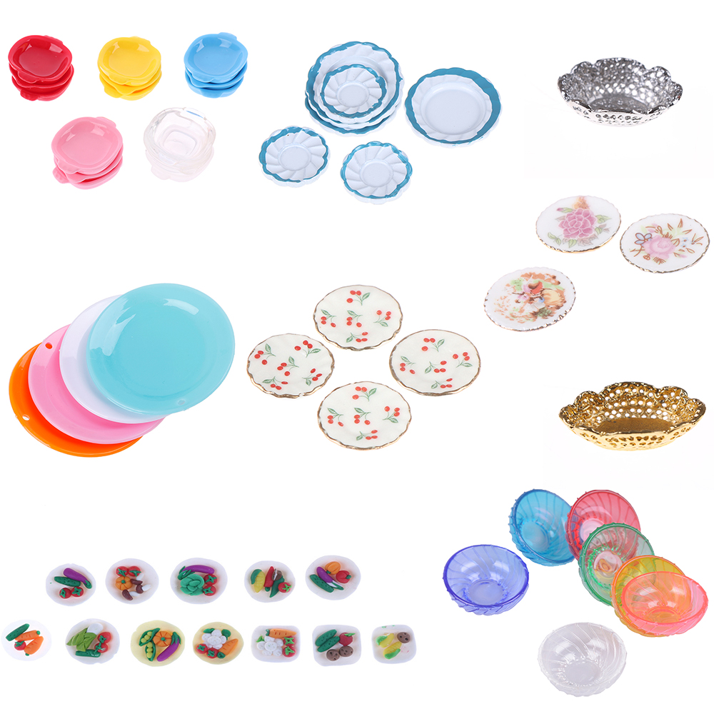1/12 Scale Cute Colorful Transparent Miniature Dollhouse Dish Plate Doll House Pretend Play Kitchen Cooking Toy Set Accessories