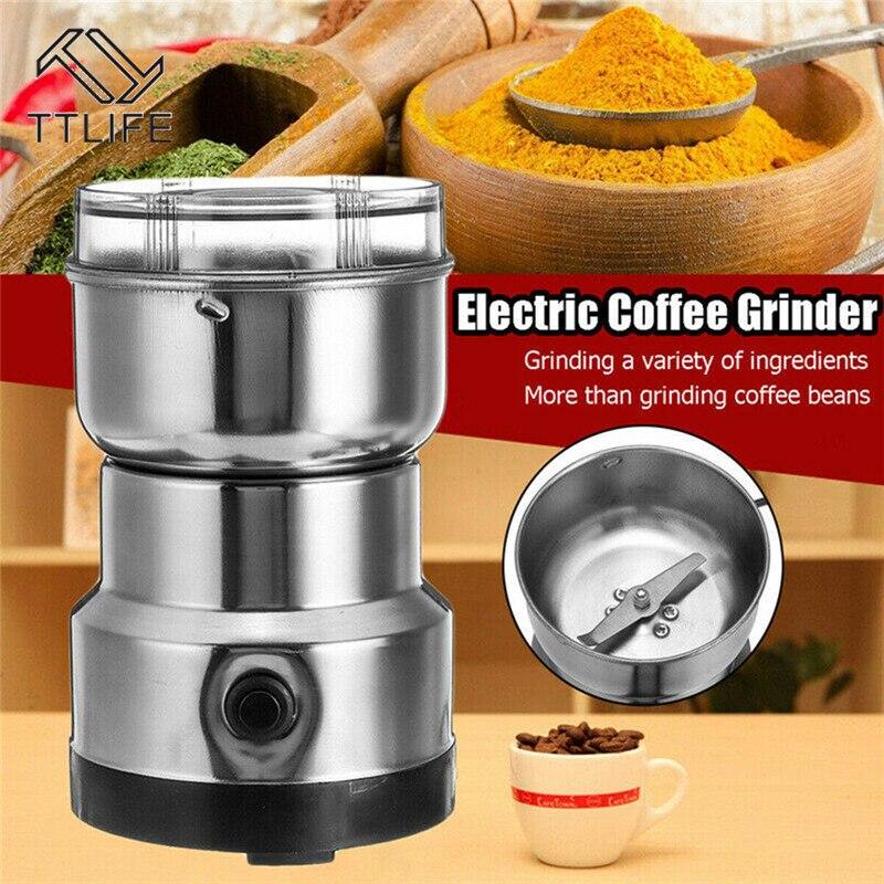 TTLIFE コーヒーグラインダー電気ミニコーヒー豆ナットグラインダーコーヒー豆多機能ホームコーヒー機械キッチンツール EU プラグ