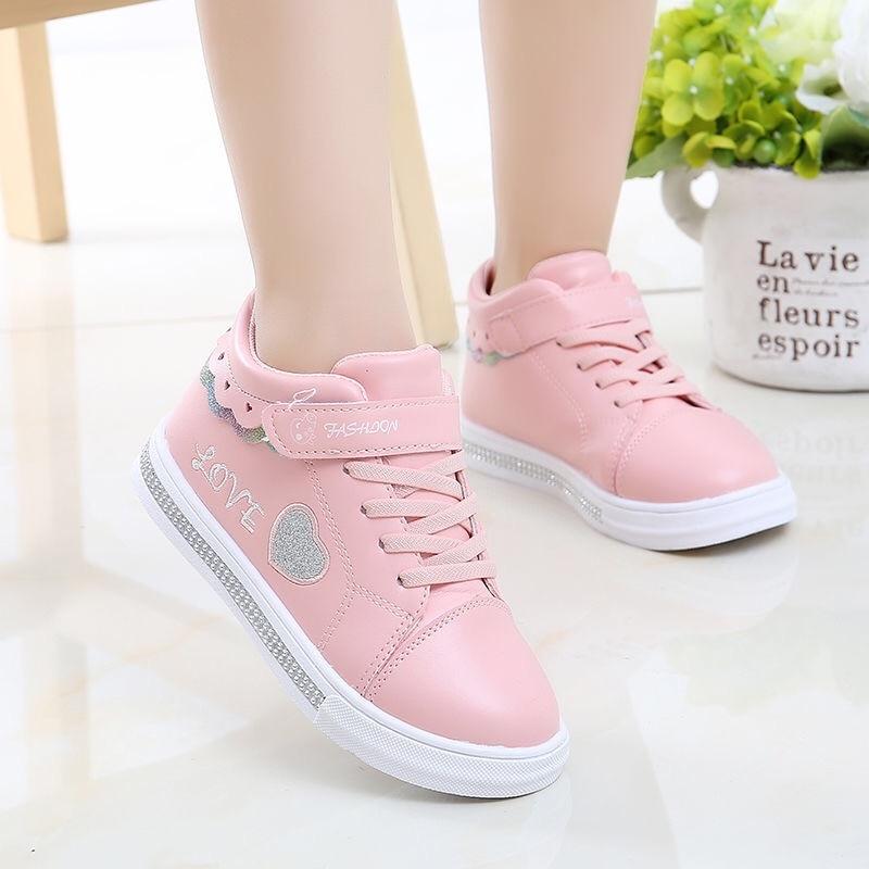 Kids Shoes School Girls Pu Tennis Shoes
