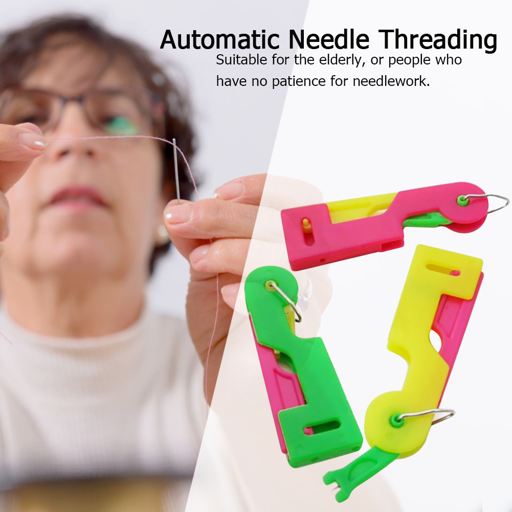 3pcs/set  Needle Leader DIY Kids Toy Automatic Needle Threading Device Random Weaving Machine Ribbon Knitted Figures Charms Toy