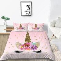 어린이를위한 thumbedding unicorn 침구 세트 sweet 3d duvet cover 하이 엔드 핑크 킹 퀸 트윈 풀 싱글 더블 소프트 침대 세트