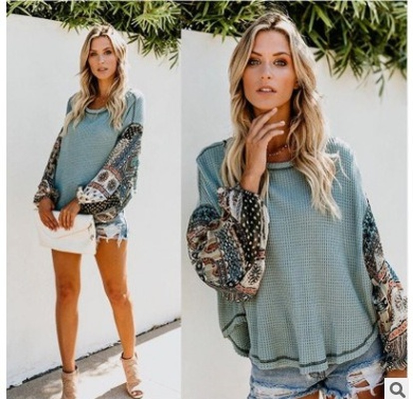 Autumn Winter Women Long Sleeve Bohemian Knit Patchwork Blouse Casual O Neck High Low Ladies Loose Tops -85