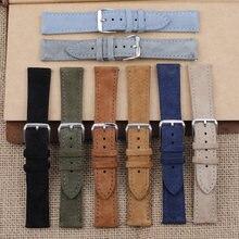 Pulseira de relógio de couro de camurça macia 18mm 19mm 20mm 22mm 24mm azul pulseiras de relógio de aço inoxidável fivela acessórios de relógio