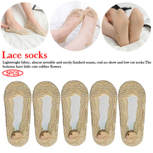 цены Summer women girl Silica Gel Lace Boat Socks Invisible Cotton Sole Non-slip Antiskid Slippers Anti-Slip Sock 5 pairs A Set