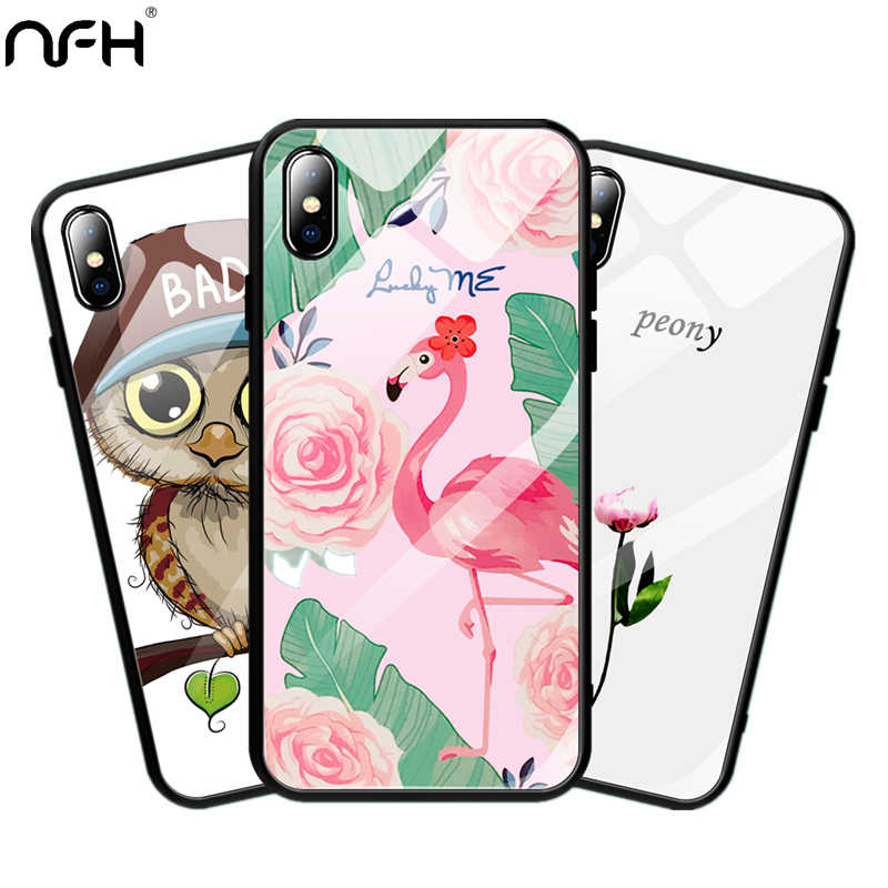"NFH Fashion Pattern Glass Phone Case For iPhone X Black Soft Silicone Bumper Case For iPhone X Tempered Glass Cover On 5.8"" Case"