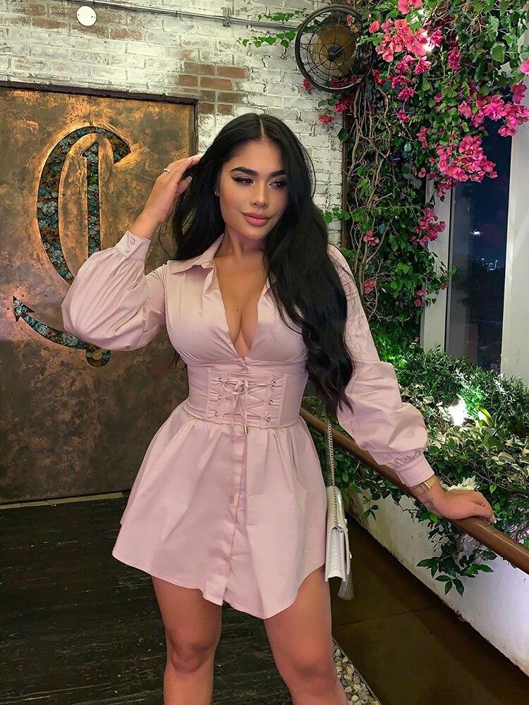 Shirt Dress Corset Newasia Long-Sleeve Pink White Women Vintage Fashion with Belt Casual