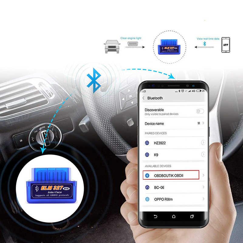 Novo obd v1.5 mini elm327 obd2 bluetooth scanner automático obdii 2 carro elm 327 testador ferramenta de diagnóstico para android windows symbian