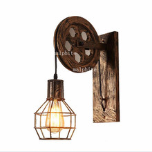 Retro lámparas de pared Industrial Americano lámpara de pared apliques de pared Vintage lámparas de elevación polea lámpara de dormitorio espejo Luz