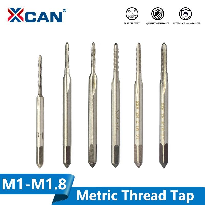 XCAN M1-M1.8 Mini Thread Tap Drill HSS 6542  Straight Flute Screw Hole Tap Drill Metric Machine Thread Tap