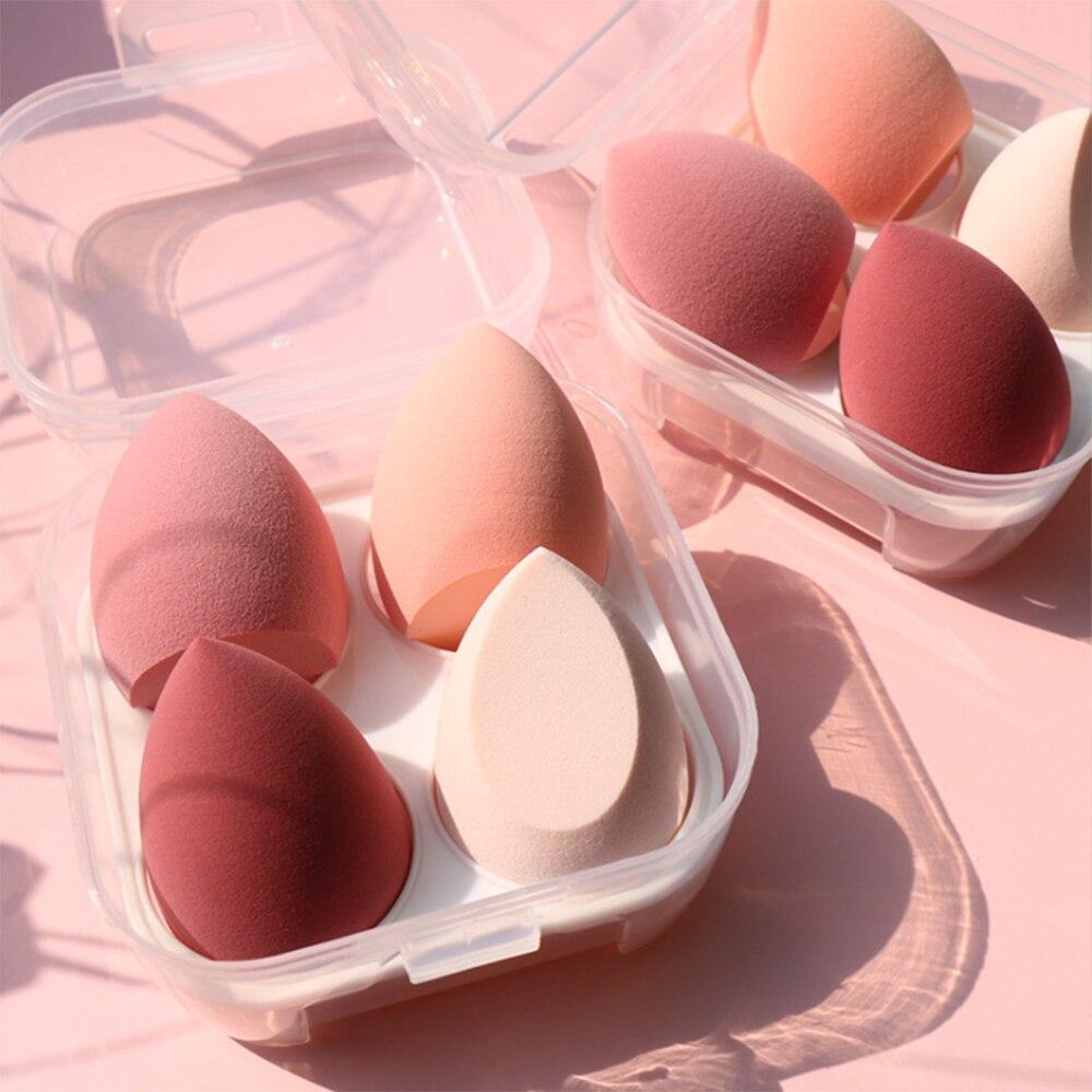 4/1pc trucco frullatore cosmetico soffio trucco spugna con scatola di immagazzinaggio fondotinta in polvere spugna strumento di bellezza le donne compongono accessori
