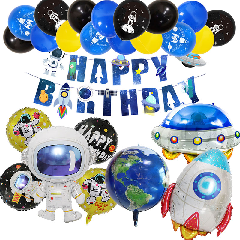 Outer Space Party Astronaut Rocket Ship Balloons Foil Galaxy Solar System Theme Party Boy Kids Birthday Party Decor Helium Balls