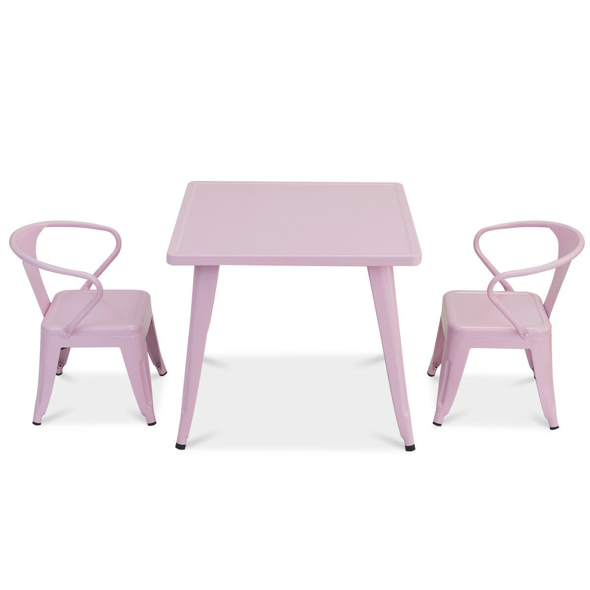 3 Pcs Kids Dining Set Square Table & 2 Tolix Armchairs Play Learn Outdoor Pink