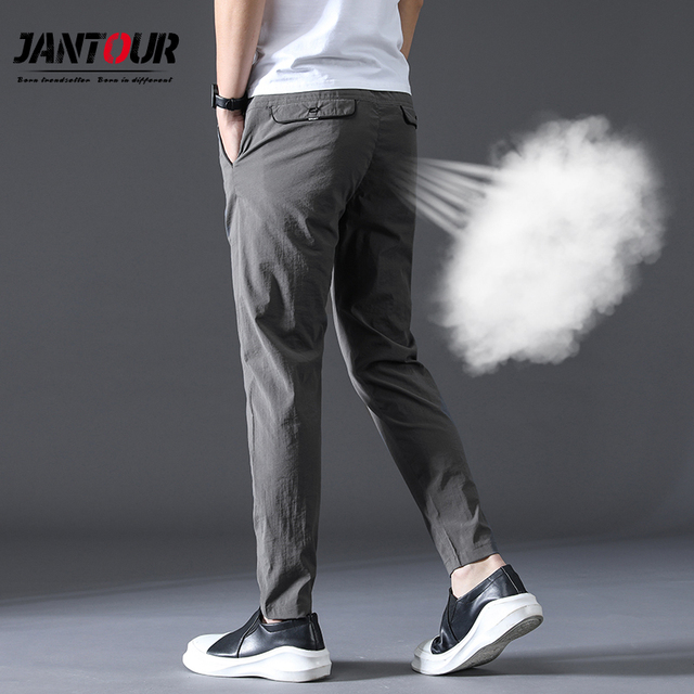 summer high quality Men Pants Brand Clothing Classic Casual Men Trousers Straight Gray Black Khaki thin Breathable Pants male