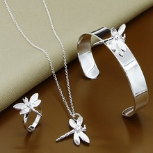 Hot Selling 925 Sterling Silver Fashion Insect Dragonfly Zircon Necklace Bangle Rings Jewelry Sets Free Shipping(China)