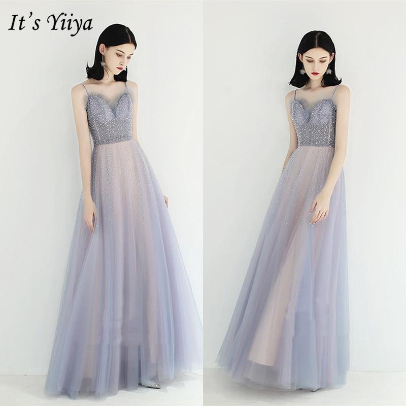 It's Yiiya Evening Dress 2019 Sleeveless Spaghetti Strap A-Line Party Long Dresses Crystal Elegant Lace Up Formal Dresses E972