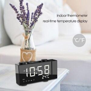Image 4 - Цифровой будильник с проекцией FM радио, будильник с повтором сигнала, термометром, настольные часы с USB светодиодами, будильник, украшение для дома