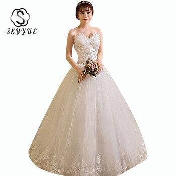 Strapless Wedding Gowns Skyyue ER697 Elegant Plus SIze Vestidos De Novia Crystal Lace Wedding Dress Floor Length Wedding Dresses