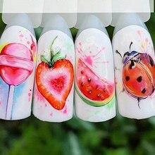 1 sztuk truskawkowe letnie owoce picie naklejki na paznokcie Manicure Nail artystyczny Design woda Transfer Watermark Beauty kalkomanie TRSTZ