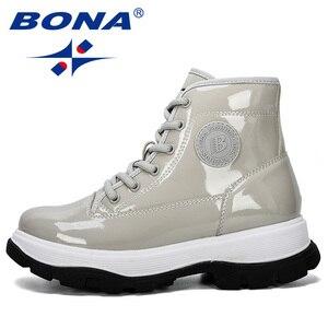 Image 4 - BONA 2019 חדש מעצב אופנה נעלי נשים חורף מגפי אלסטית פטנט עור קרסול מגפי גבירותיי עקב נמוך מגפי נעליים סקסיות