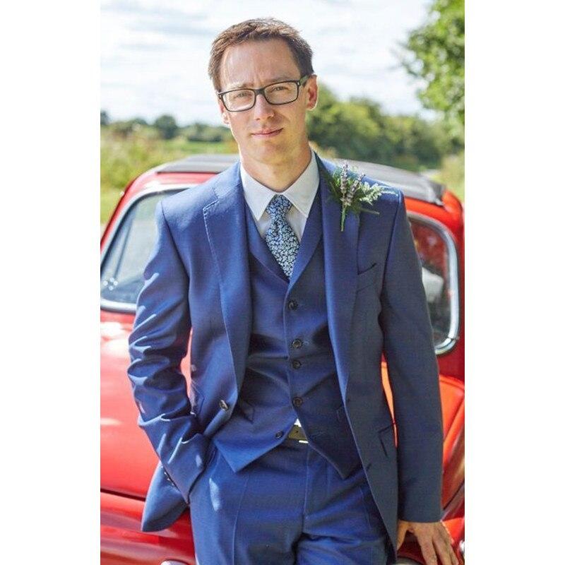 Custom Made Notch Lapel Two Buttons Bule Men Suits Custome Homme Fashion Tuxedos Terno Slim Fit Blazer Suit(Jacket+Pants+Vest)