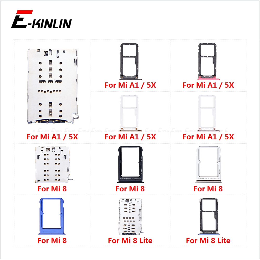Sim Card Socket Slot Tray Reader Holder Connector Micro SD Adapter Container For XiaoMi Mi 8 Lite A1 5X Replacement Parts