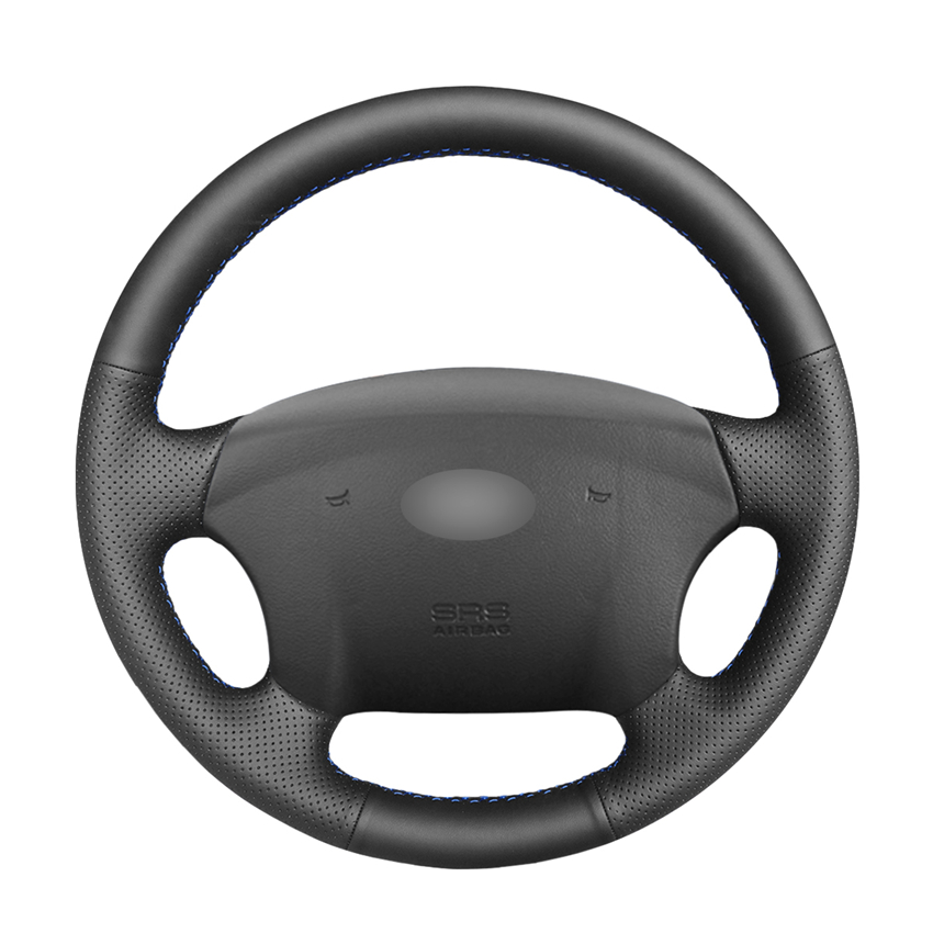 Hand-stitched DIY Black PU Artificial Leather Car Steering Wheel Cover for Hyundai Sonata NF 2005-2006 Kia Carens 2007-2011