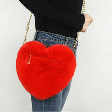 Fashion Casual Women Girl Plush Love Chains Shoulder Hairy Bag Valentine Day Gift Heart-shaped Bag Coin Purses Streetwear