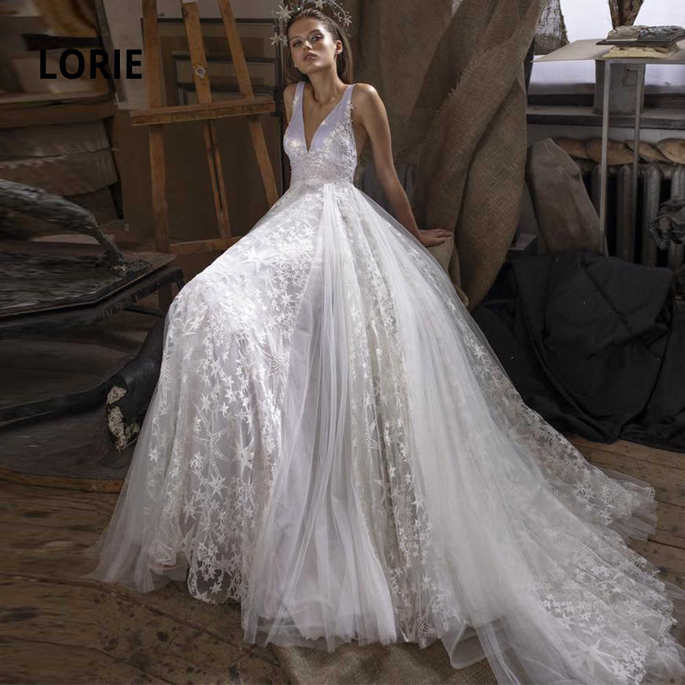LORIE Wedding Dresses With Shiny Stars Tulle Long Train 2020 Sleeveless V-neck Boho Bridal Gowns A-line Sparkling Bride Dress