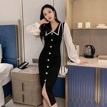 Autumn Fashion Women Dress 2019 Sexy Maxi OL Professional Slim Long Party Dresses Plus Size
