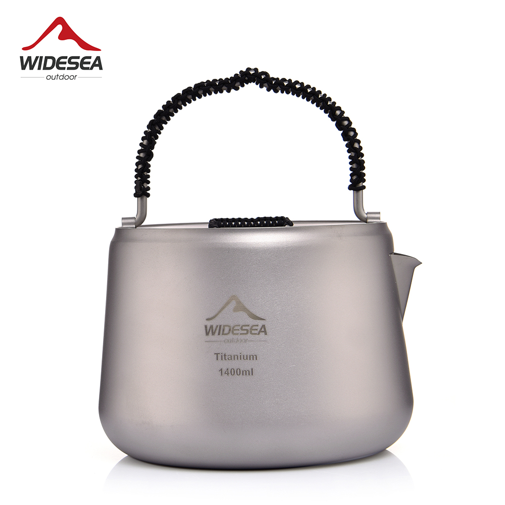 Widesea Camping 1.4 L Titanium Kettle Outdoor Tea Coffee Kettle Tableware Pot Equipment Supplies Tourist Dishes Hiking Cooking