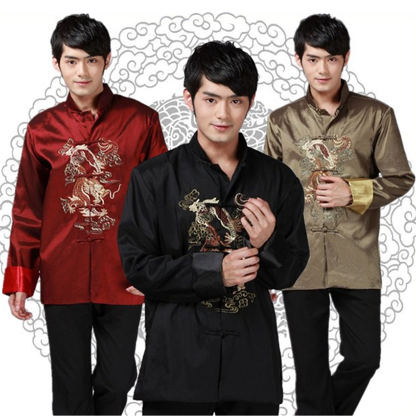 Traditional Chinese Clothing Tang Suit Men Top Long Sleeve Dragon New Year Kung Fu Outfit China Fashion Style Clothes Top