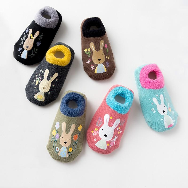 Baby Boys Girls Socks Rubber Slip-resistant Floor Socks Winter Thicken Warm Shoes Cotton Cartoon Infant Kids Animal Socks