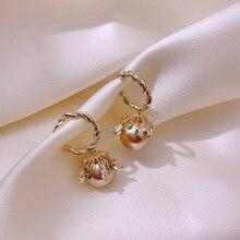 Luxury Female Champagne Pearl Drop Earrings Cute Gold Dangle For Women Trendy Bridal Round Wedding